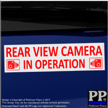 1 x Rear View Camera In Operation Stickers-EXTERNAL CCTV Signs-Van,Taxi,Car,Cab RED on WHITE